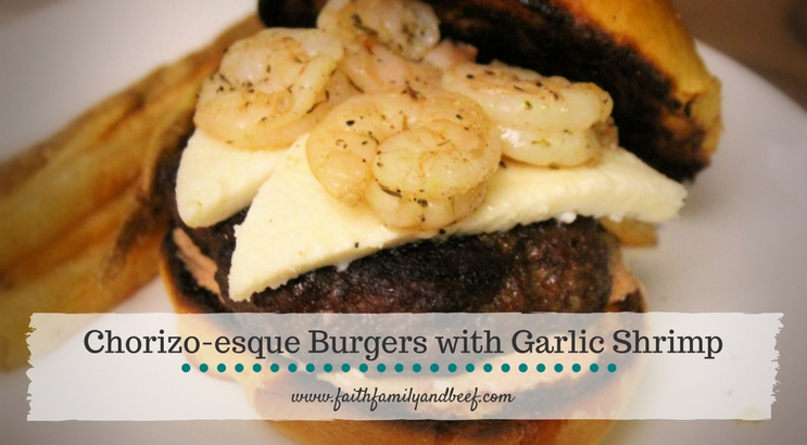 Chorizo-esque Burgers with Garlic Shrimp