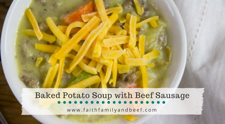 Baked Potato Soup with Beef Sausage