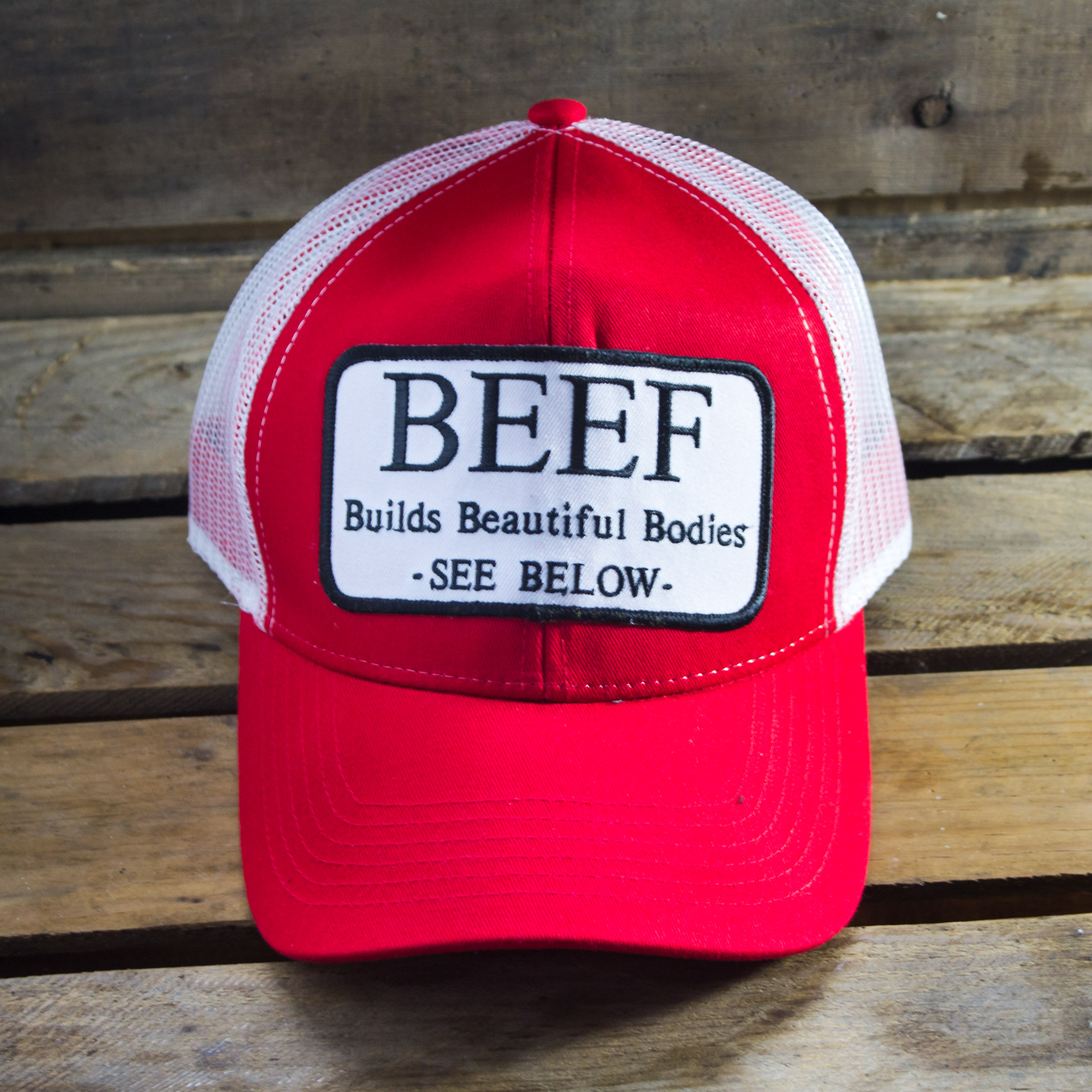 7188a6b4985 Beef Builds Beautiful Bodies Patch Hat - Faith Family   Beef