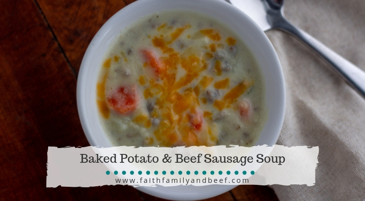 Baked Potato with Beef Sausage Soup