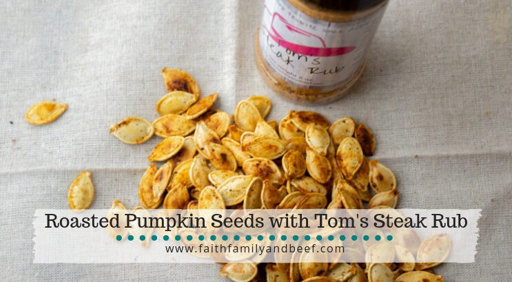 Roasted Pumpkin Seeds with Tom's Steak Rub - a delicious way to re-purpose the seeds from your Halloween pumpkin decor!