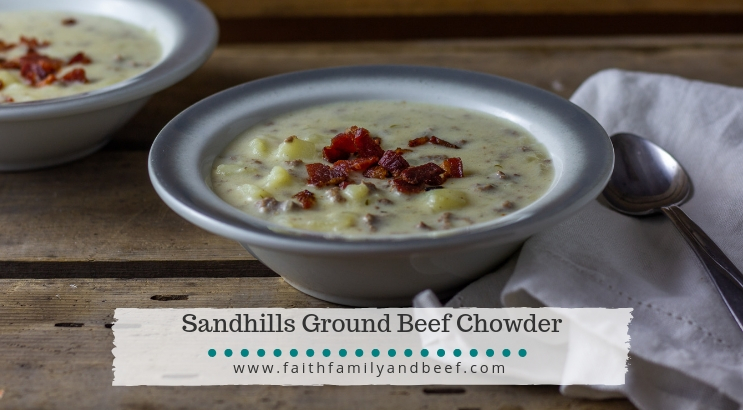 Sandhills Ground Beef Chowder - a delicious Midwestern spin on the classic New England clam chowder.